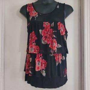 Black and Red Floral Top